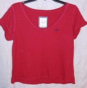 Gilly Hicks Red Crop Tee